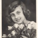 Beautiful Girl, Roses, REAL PHOTO POSTCARD   #512