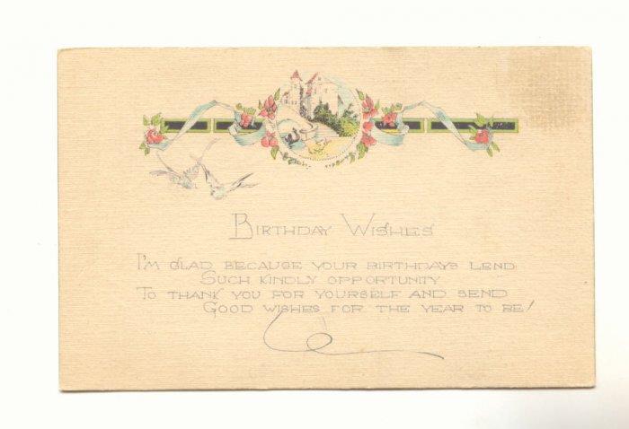 BIRTHDAY WISHES, BIRDS, FLOWERS, VERSE VINTAGE Postcard   #513
