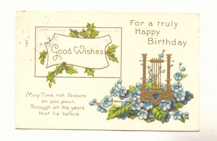 TRULY HAPPY BIRTHDAY GOLD HARP FORGET ME NOTS 1910 Vintage Postcard #514