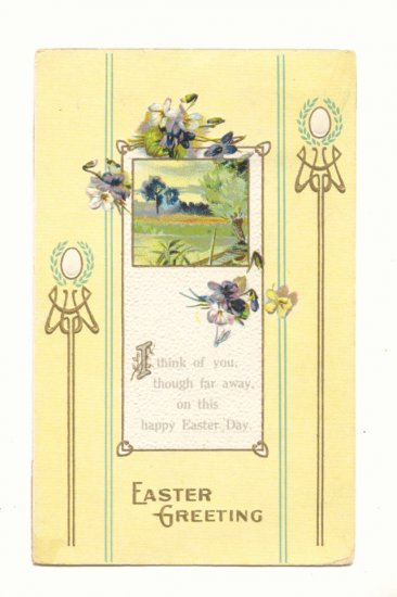 EASTER GREETINGS, VIOLETS, COUNTRY SCENE, VERSE  Vintage Postcard #518