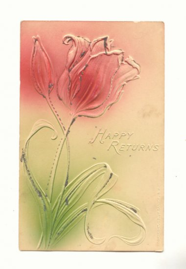 HAPPY RETURNS, LARGE HEAVY EMBOSSED TULIP GLITTER Vintage Postcard #519