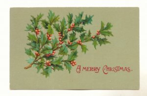 A MERRY CHRISTMAS, PRETTY HOLLY, VINTAGE UNUSED POSTCARD #534