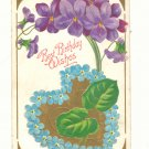Best Birthday Wishes, Large Violets, Forget-Me-Nots Heart Vintage Postcard #542
