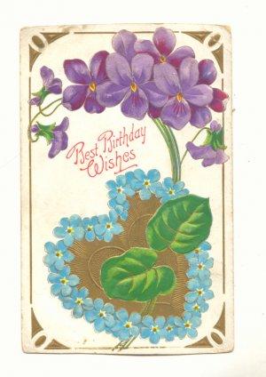 Best Birthday Wishes, Large Violets, Forget-Me-Nots Heart Vintage Postcard #542