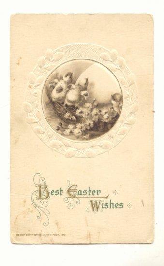 Best Easter Wishes  Chicks  Large Egg Flowers VINTAGE POSTCARD #547