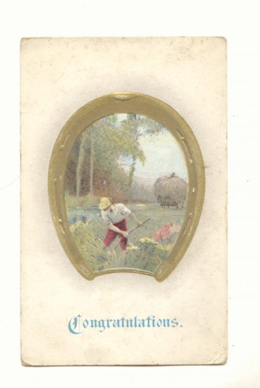 CONGRATULATIONS Farmer in Field Framed in Gold Horseshoe Vintage Postcard #549