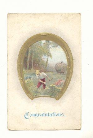 CONGRATULATIONS Farmer in Field Framed in Gold Horseshoe Vintage Postcard #549