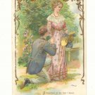 Romantic Couple Man Proposing Verse Vintage Postcard #550