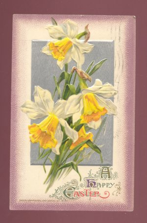 John Winsch A HAPPY EASTER Large Daffodils Vintage 1911 Postcard #554