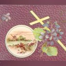 1912 Vintage Postcard Windmill Scene, Violets, Cross #560