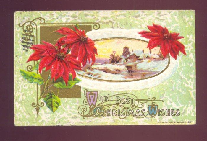John Winsch BEST CHRISTMAS WISHES Poinsettia Winter Scene Vintage 1910 Postcard #556