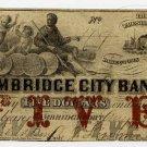 Cambridgeport, Cambridge City Bank, $5, Aug 1, 1858