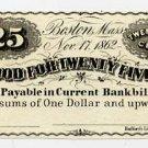 Boston, Charles Blake & William Alden, 25 Cents, 1862