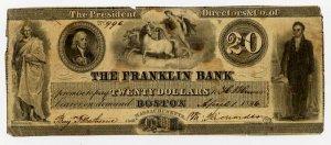 Boston, Franklin Bank, $20, April 1, 1836