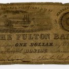Boston, Fulton Bank, $1, June ?, 1837