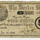 Boston, DW Gammon, 5 Cents, Jan 1, 1863