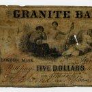 Boston, Granite Bank, $5, Jan 29, 1859?