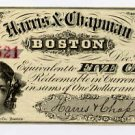 Boston, Harris and Chapman, 5 Cents, Dec 1, 1862