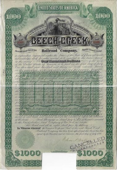 Beech Creek Railroad $1000 Bond, 1886