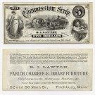 Fitchburg, RI Lawton, $5 Commission Scrip, 1870s