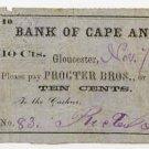 Gloucester, Massachusetts, Procter Brothers, 10 Cents, 1862