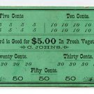 Denver, Colorado, C Johns, $5 Punch Card, 1890s