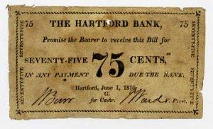 Hartford Bank, Connecticut, 75 Cents, 1816