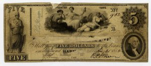 Hartford, Connecticut, Altered $5, 1852