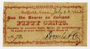 Suffield, Connecticut, Loomis & Co. 10 Cents, 1862