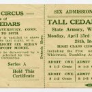 Waterbury, Connecticut, Circus, Lottery Ticket, 1930s