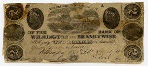 Wilmington, Bank of Wilmington and Brandywine, $2, 1840
