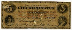 Wilmington, City of Wilmington, 5 Cents, Nov 1, 1862