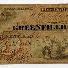 Greenfield, Greenfield Bank, $5, 1860