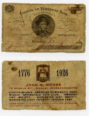 Hadley, John Morse Ad Note Printed on 1864 Brookline, NH Scrip