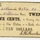Carbondale, S.H. Freeland, 25 Cents, Nov 24, 1862