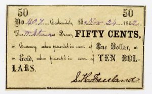 Carbondale, S.H. Freeland, 50 Cents, Nov 24, 1862