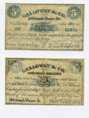 Chicago, Galloway & Co., 5 Cents, 1860s