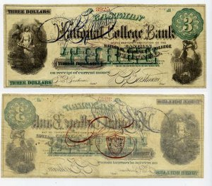 Chicago, College Currency, Eastman National College Bank, $3