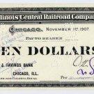 Chicago, Illinois Central Railroad Company, 10 Dollars, 1907