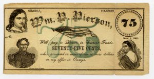Illinois, Onarga, Wm. P. Pierson, 75 Cents, Nov 1, 1862