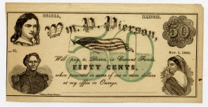 Illinois, Onarga, Wm. P. Pierson, 50 Cents, Nov 1, 1862