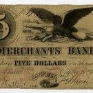Lowell, Merchants Bank, $5, 1854