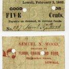 Lowell, Samuel Wood, 5 Cents, 1863