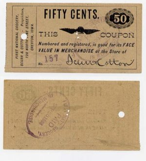 Creston, Iowa, First National Grocery, 50 Cents, Sept 20, 1886