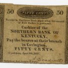 Cynthiana, Northern Bank of Kentucky, 50 Cents, June 5, 1837