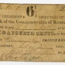 Frankfort, Bank of the Commonwealth of Kentucky, 6 1/4 Cents, Nov 27, 1822