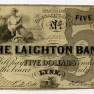 Lynn, Laighton Bank, $5, July 1, 1858