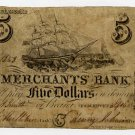 Newburyport, Merchants Bank, $5, Sept 6, 1842