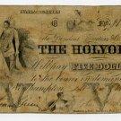 Northampton, Holyoke Bank, $5, Sept 1, 1855