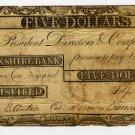 Pittsfield, Berkshire Bank, $5, Sept 9, 1807